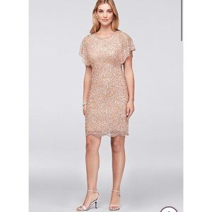 NWT Adrianna Papell Sequin Cocktail Dress Gold